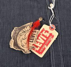 LEVI'S VINTAGE CLOTHING :: ONE POCKET SUNSET SHIRT, INDIGO & WHITE MINIATURE CHECK