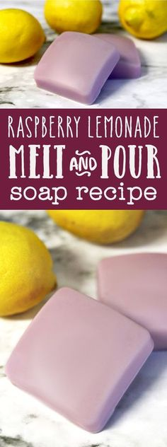 Raspberry Lemonade Melt and Pour Soap DIY! This raspberry lemonade melt and pour soap recipe takes just 10 minutes to make, making it quick, easy, and inexpensive craft. Plus learn about melt and pour soap-making additives you can use to create your own c Soap Making Recipes, Homemade Soap Recipes, Easy Recipes, Diy Soap Recipe Without Lye, Home Made Soap Without Lye, Diy Soap Base, Homemade Gifts, Making Soap Without Lye, How To Make Soap