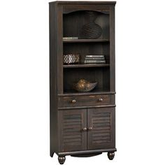 """27.205""""W x 17.48""""D x 72.244""""H $184 Sauder Harbor View Library with Doors, Antiqued Paint Finish"""
