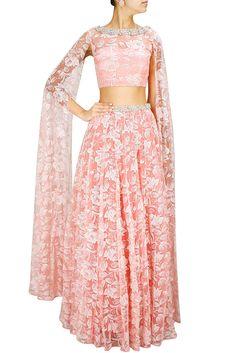 ee1cd82e783351 Rose Pink Thread Embroidered Lehenga Set With Floor Length Sleeves Indian  Lehenga