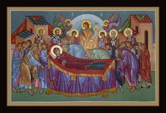 Dormition of the Mother of God. Dormition of the Mother of God. Painted by Fr. Byzantine Art, Orthodox Icons, Tempera, Gold Leaf, Christian, God, Canvas, Painting, Inspiration