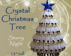 Printable Tutorial Instructions for Crystal Christmas Tree - Confetti or Traditions Design Christmas Tree Beads, All Things Christmas, Christmas Tree Decorations, Christmas Bulbs, Christmas Crafts, Holiday Decor, Christmas Angels, Christmas Wreaths, Star Tree Topper