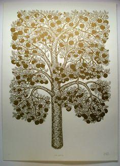 golden apple tree woodcut from tugboat printshop