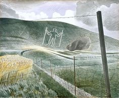 Detail 'The Wilmington Giant' English artist Eric Ravilious via the Guardian Watercolor Landscape, Landscape Art, Landscape Paintings, Landscapes, David Hockney, East Sussex, Sussex Downs, Victoria And Albert Museum, English Countryside