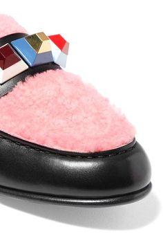 Fendi - Studded Shearling-paneled Leather Loafers - Black - IT35.5