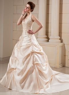 Wedding Dresses - $236.99 - Ball-Gown Halter Cathedral Train Satin Wedding Dress With Embroidery Beadwork (002000678) http://jjshouse.com/Ball-Gown-Halter-Cathedral-Train-Satin-Wedding-Dress-With-Embroidery-Beadwork-002000678-g678