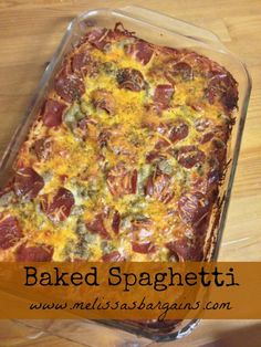 Easy Baked Spaghetti Recipe from Melissa's Bargains - Kid Friendly mix of pizza and spaghetti! Gourmet Recipes, Dinner Recipes, Healthy Recipes, Yummy Recipes, Dinner Ideas, Pasta Dishes, Food Dishes, Main Dishes, No Cook Meals