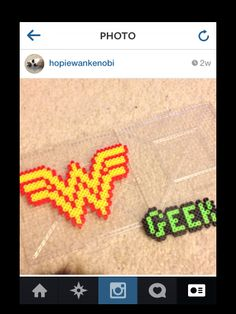Wonder Woman and geek perler bead necklaces