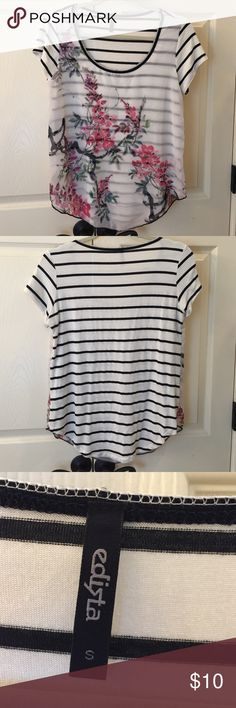 Edista Top EUC Super cute short sleeved top!  Soft stopped top. Front has chiffon layer with pretty floral. Only worn once. No flaws. Edista Tops Tees - Short Sleeve