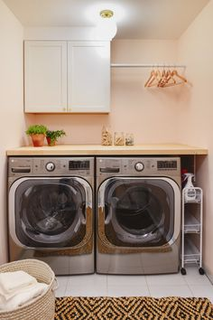 A Pretty In Peach Laundry Room Makeover! - Yellow Brick Home A Pretty In Peach Laundry Room Makeover! – Yellow Brick Home Small Laundry Closet, Laundry Room Organization, Laundry Room Design, Organization Ideas, Storage Ideas, Basement Laundry, Peach Rooms, Yellow Laundry Rooms, Peach Bathroom