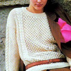 INSTANT DOWNLOAD PDF KNITTING PATTERN for an Aran Sweater This vintage UK knitting pattern for an aran jumper has been digitally cleaned and enlarged for ease of use Great textures - combination of Irish moss stitch and cable. Simple and stylish in ivory. A wardrobe classic - looks bang on trend with the skinny belt. Sweater to fit 30, 32, 34 and 36 ins bust. Actual measurements 34, 35.5, 38.5 and 41.5 inches Aran yarn and 4.00mm, 5.00mm and cable needles required. Fashion fade...