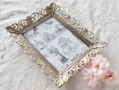 Vintage French Decor Gold Filigree Picture by HomespunQuiltsVA, $12.00- would be cute to put people's bill on instead of those black folders!