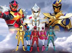 (Red) Nic, (Yellow) Chip, (Blue) Maddie, (Green) Xander, (Pink) Vida, (Solarus) Dageron, (White) Odana, (Wolf) Leombo/Korag POWER RANGERS MYSTIC FORCE