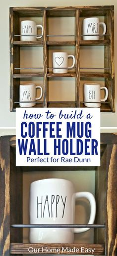 Here is an easy Rae Dunn Mug Holder for only a few dollars! It's easy enough to make and perfect for showing off a coffee mug collection!