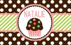 """Personalized Placemat - matches kids plate and dishsets laminated 12x18"""" cupcake"""