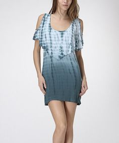 Another great find on #zulily! Teal & White Tie-Dye Cutout Dress by CottyOn #zulilyfinds