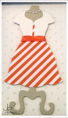 Cute little tangerine sundress using the Stampin' Up! Dress Up framelit by Stamping With Jill