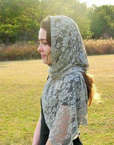 Catholic Soft Silver Grey Head Scarf   Cover by RobinNestLane