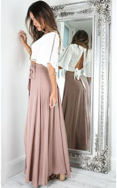 Maxi Skirt Outfit Summer, Maxi Skirt Outfits, Dress Skirt, Flowy Skirt, Maxi Skirts, Girly Outfits, Stylish Outfits, Cute Outfits, Skirt Fashion