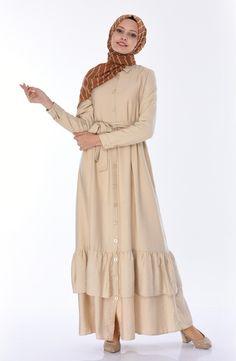 Sefamerve, Aerobin Kumaş Fırfırlı Elbise 4282-04 Bej Fashion, Dress, Moda, La Mode, Fasion, Fashion Models, Trendy Fashion