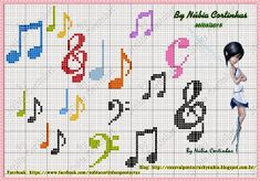 Enxoval Ponto Cruz by Núbia Cortinhas: Monograma Musical