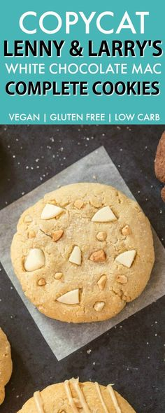 Copycat Lenny & Larry's White Chocolate Macadamia Complete Cookie (V, GF, DF, Paleo)- An easy, healthy, single serve protein cookie recipe, dense, chewy and soft in the center! 5 Ingredients and no sugar! {vegan, gluten free, low carb}- thebigmansworld.com