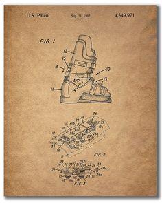 Ski Patent Prints - Set of 4 inches x 10 inches) Vintage Wall Art Decor Photos Vintage Ski, Vintage Wall Art, Vintage Walls, Vintage Posters, Vintage Photos, White Wall Decor, Wall Art Decor, Ski Lodge Decor, Ski Posters