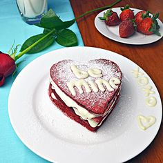 Awesome Valentine's day breakfast idea--Red Velvet Pancakes with Cream Cheese Frosting Syrup! (via hostthetoast.com)