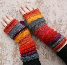 Unmatched Hand Knit Fingerless Mittens -Tangerine - warm and fuzzy wrist warmers… Arm Knitting, Knitting Patterns, Crochet Patterns, Knit Mittens, Knitted Gloves, Knitting Projects, Crochet Projects, Wooly Hats, Fingerless Mitts