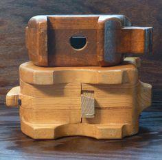 Vintage money box wooden piggy bank primitive house for Handmade coin bank