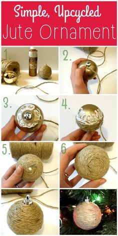 Upcycled Jute Ornaments – Easy and Inexpensive Craft! These upcycled ornaments are simple and so inexpensive. Revamp your Christmas decor with beautiful, rustic homemade jute ornaments – a great craft to reuse old ornaments. Rustic Christmas Ornaments, Christmas Balls, Christmas Crafts, Western Christmas Decorations, Christmas Tree, Cheap Christmas, Primitive Christmas, Homemade Ornaments, Diy Ornaments