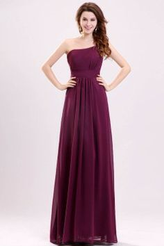 One-shoulder Chiffon Long Bridesmaid Dress  USD85.99 (comes in other colours)