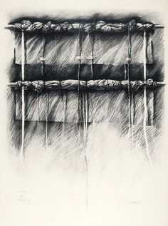 "gérard titus-carmel - ""pierre noir IV, suite narwa"" , 1977, charcoal drawing."