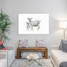 "Laurel Foundry Modern Farmhouse Goat and Kid Graphic Art on Wrapped Canvas Size: 26"" H x 40"" W x 0.75"" D"