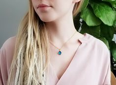 Dainty Gold Necklace, Turquoise Necklace, Everyday Necklace, Gold Chains, Blue Sapphire, Chokers, Pendant, Silver, Etsy