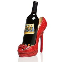 Ruby Badd Wine Bottle Holder -Just The Right Shoe - for Daigle Crane! Custom Wine Bottles, Red High Heel Shoes, Red Heels, Wine Bottle Holders, Wine Stoppers, Collectible Figurines, Wine Cellar, Wine Rack, City Chic