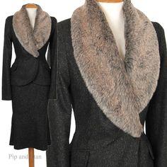 UK10/12 US6/8 H+M BROWN WOOL TWEED FUR PENCIL SKIRT SUIT 50S STYLE WOMEN SIZE #HennesandMauritz #SkirtSuit #Business