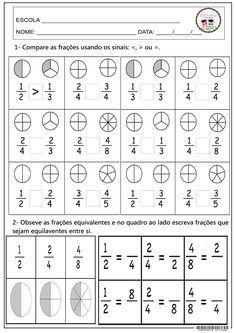 SOS PROFESSOR-ATIVIDADES: Comparando frações                                                                                                                                                                                 Mais Math For Kids, Fun Math, Math Games, Math Activities, Fractions Worksheets, Math Fractions, Equivalent Fractions, Math Help, 4th Grade Math