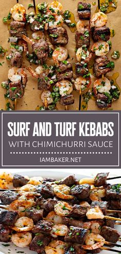 This easy BBQ idea is about to solve your dinner worries! Surf and Turf Kebabs with Chimichurri Sauce can be on your table in 10-15 minutes. Impress everyone with tender and juicy steak and shrimp grilled to perfection and covered in an authentic chimichurri sauce! Summer Grilling Recipes, Summer Recipes, Grilling Ideas For Dinner, Dinner Ideas With Steak, Grilled Dinner Ideas, Healthy Summer Dinner Recipes, Seafood Recipes, Beef Recipes, Healthy Bbq Recipes