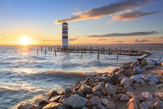 Lighthouse At Lake Neusiedl Stock Photo - Image of coast, harbor: 18516424 Life Is Good, Places To Go, Coast, Around The Worlds, Island, Stock Photos, Explore, Vacation, Sunset