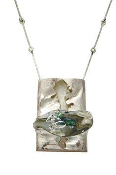 "Björn Weckström for Lapponia Jewelry, ""Jääkieli"" necklace, in sterling silver and acrylic, 1971. #Finland"