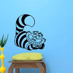 Decalque Da Parede Do Vinil-Gato de Cheshire de Alice No País Das Maravilhas Adesivo Decalque Da Parede Para O Berçário Arte Vintl Gato Animal Mural-D-312