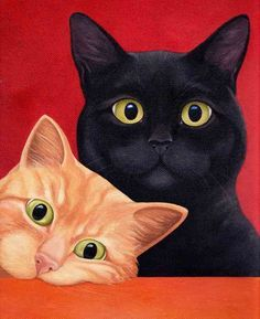 Chat Web, Wallpaper Gatos, Cool Cats, I Love Cats, Black Cat Art, Black Cats, Black Cat Painting, Image Chat, Photo Chat