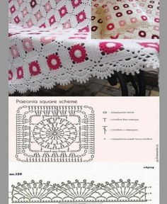 Blanket and mold cushion cover with molds - Moldes de crochet - Motifs Granny Square, Granny Square Crochet Pattern, Crochet Diagram, Crochet Squares, Crochet Chart, Crochet Motif, Crochet Doilies, Crochet Baby, Crochet Bedspread Pattern