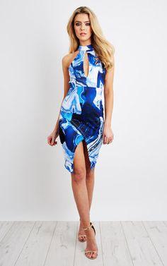 Halter Neck Dress With Asymmetric Hem Product photo