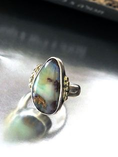 Silver Gold Ring Australian Boulder Opal Ring by rioritajewelry