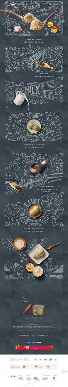 Sensational landing page design by Haagen Daaz, combining chalk illustration with real food photography. Pop Design, Design Web, Menu Design, Layout Design, Deco Restaurant, Chalk Lettering, Chalkboard Art, Graphic Design Inspiration, Packaging Design