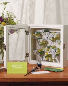 Country Charm Rustic Wishden Wish Box Guest Book Alternative - Shadow Box, Chicke . Country Charm Rustic wooden wish box guest book alternative – shadow box, chicken wire and note paper, so t Diy Wedding, Wedding Favors, Rustic Wedding, Wedding Decorations, Trendy Wedding, Wedding Ideas, Wedding Country, Country Weddings, Wedding Themes