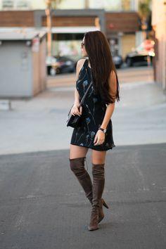vintage dress, stuart weitzman over the knee boots