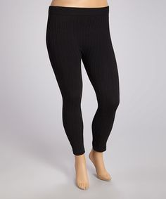 75f2228bb9ce0 Another great find on #zulily! Black Thin Cable-Knit Leggings - Plus #